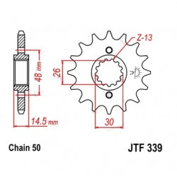 Transmission - Pignon sortie boite - JTF 339 - 530/16 dents
