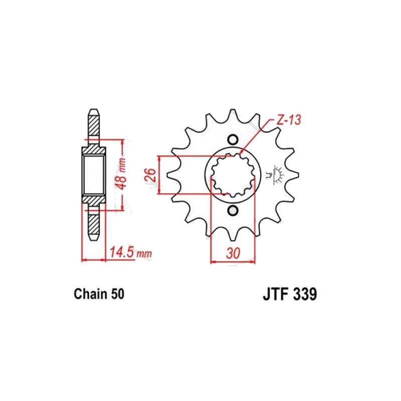 Transmission - Pignon sortie boite - JTF 339 - 530/17 dents