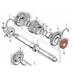 Moteur - Roulement axe primaire - 6304HS - rainuré - 20x52x15 mm