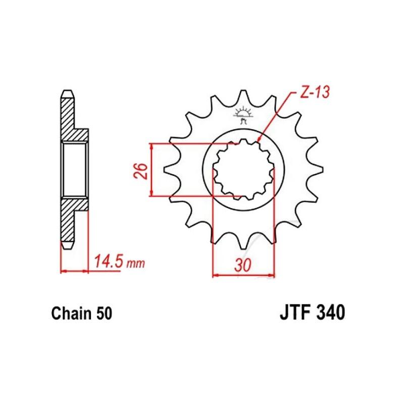 Transmission - Pignon sortie boite - JTF 340 - 530/18 dents