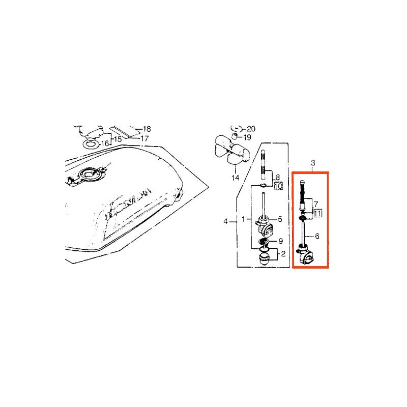 Robinet de reservoir - Essence - M18 x1.25 - CB750 / CB900 / CB1100R