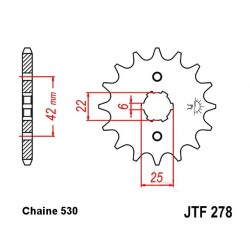 Transmission - Pignon sortie boite - 18 dents - JTF 278 - Chaine 530