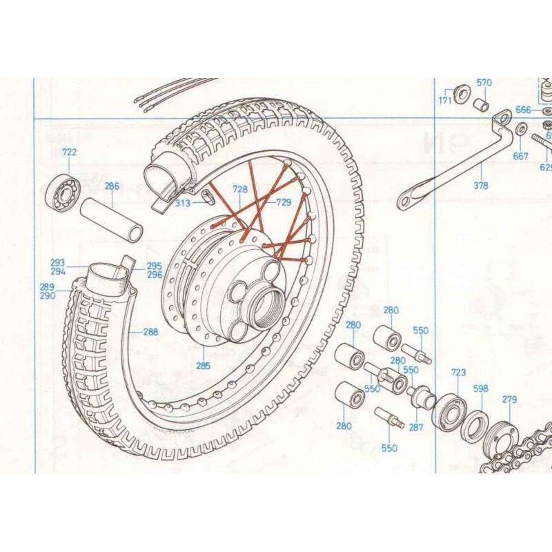 Roue Arriere - jeu de rayonnage - (x36) - CB350-CB360-CB400....