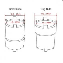 Embrayage - Douille de deblocage double 26/32 - 30/36 mm