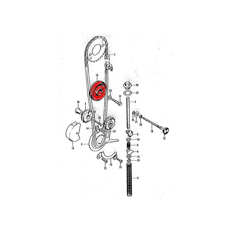 Distribution - Galet tendeur de chaine - CB125K