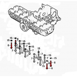 Vis (x4)  de serrage extérieur du moteur  M8 x70 - 10.9