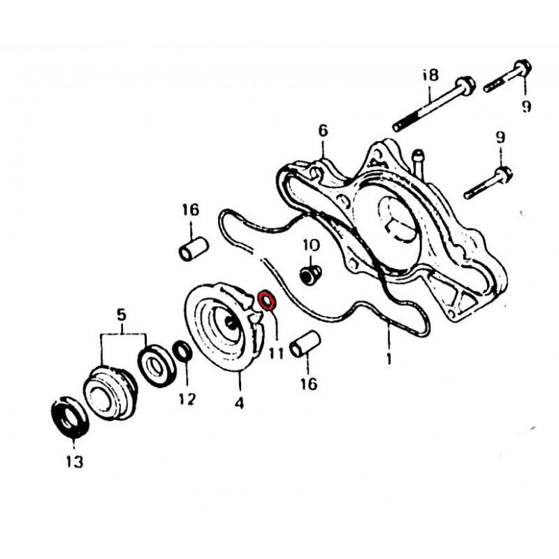 Pompe a eau - Rondelle d'etanchéité - 6.5x13.5x1.5mm