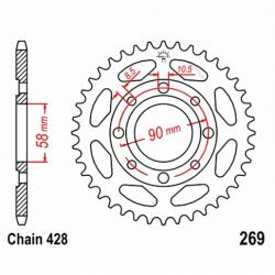 Transmission - Couronne JTR269 - 428/42 dents