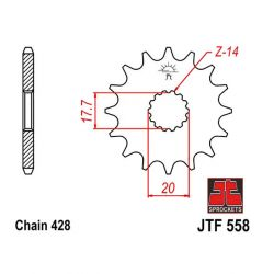 Transmission - Pignon - JTF-558 - 14 dents - TDR125 - FZR400