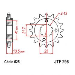 Transmission - Pignon - JTF-296 - 16 Dents