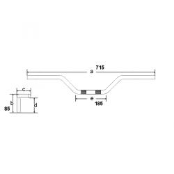 Guidon ø22mm - Tomaselli 186 - cb750kz / cb500 / cbx750 / GL1000