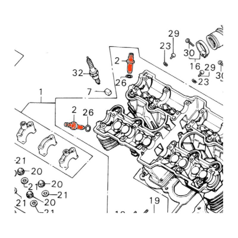 Moteur - Soupape - Guide Admin/echapp. - (x1) - CB 900 / 1100 K/F - VF750S