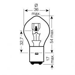 Ampoule - 12v - 25/25w - BA20D - ( 2 ergots )
