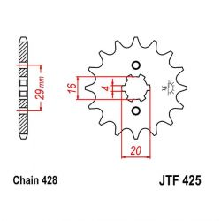 Transmission - Pignon - JTF-425 - 12 dents -