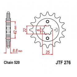 Transmission - Pignon sortie boite - JTF276 - 520/16 dents