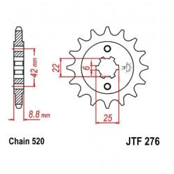 Transmission - Pignon sortie boite - JTF276 - 520/15 dents