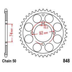 Transmission - Couronne - JTR848 - 47 dent - Chaine 530