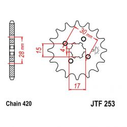 Transmission - Pignon sortie boite - JTF 253 - 420/13 dents