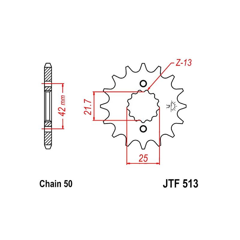 Transmission - Pignon - JTF 513 - 16 dents