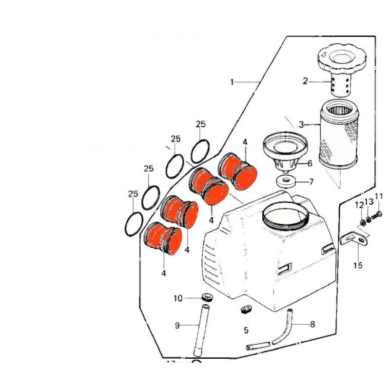 Manchon de liaison - Carburateur - filtre a air - Kz650 - KZ750 (4 cyl.) - 14073-1032