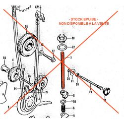 Distribution - Axe de reglage du tendeur de chaine - CB125K