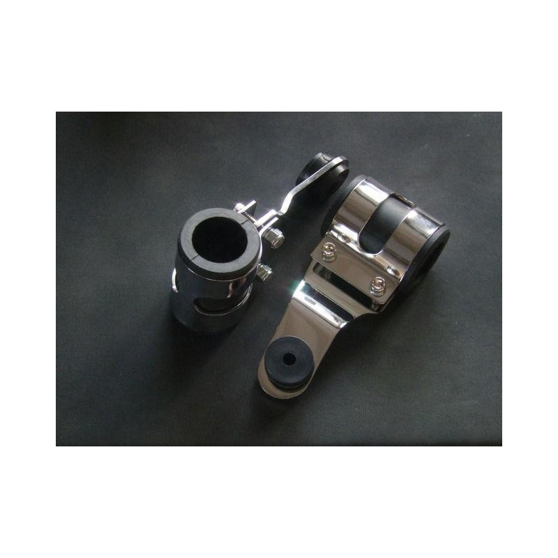 Phare - Support - Fourche ø 30-38 mm - coudé Chrome