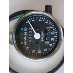 """Tableau de bord - ø60mm - Compteur Mécanique Km/h - 15-18"""" - NOIR - a voyant"""