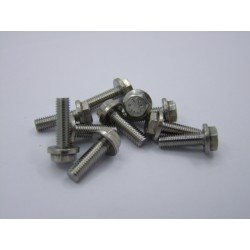 Vis M5 x 16mm - Hexagonale à collerette - inox - (x10)