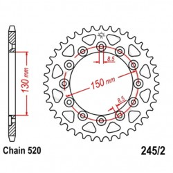 Transmission - Couronne JTR245/2 - 520/38 dents
